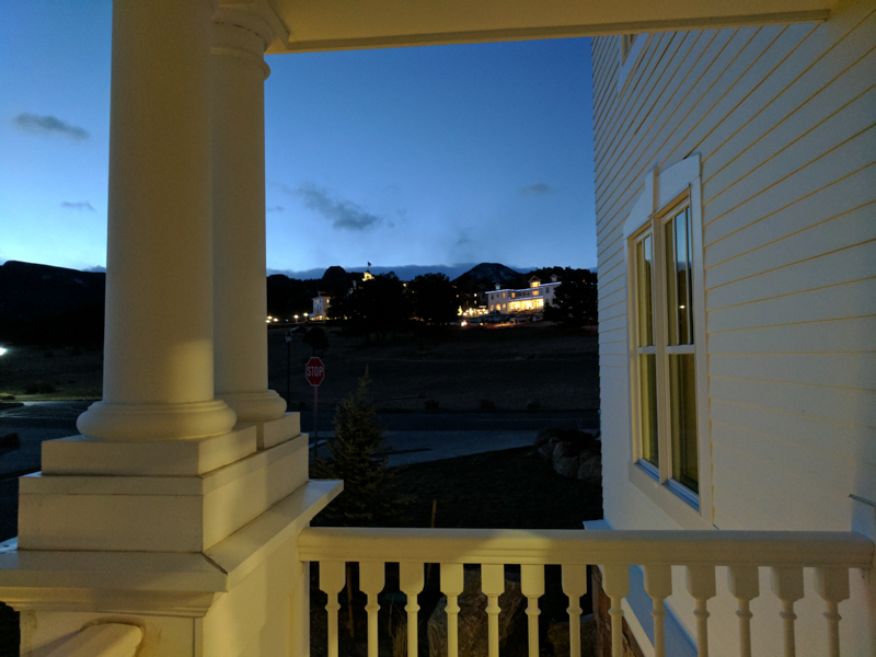 Dusk view of the main Stanley Hotel from a balcony in Aspire Residences, 44 new rooms and suites that were built and soft-opened last summer.