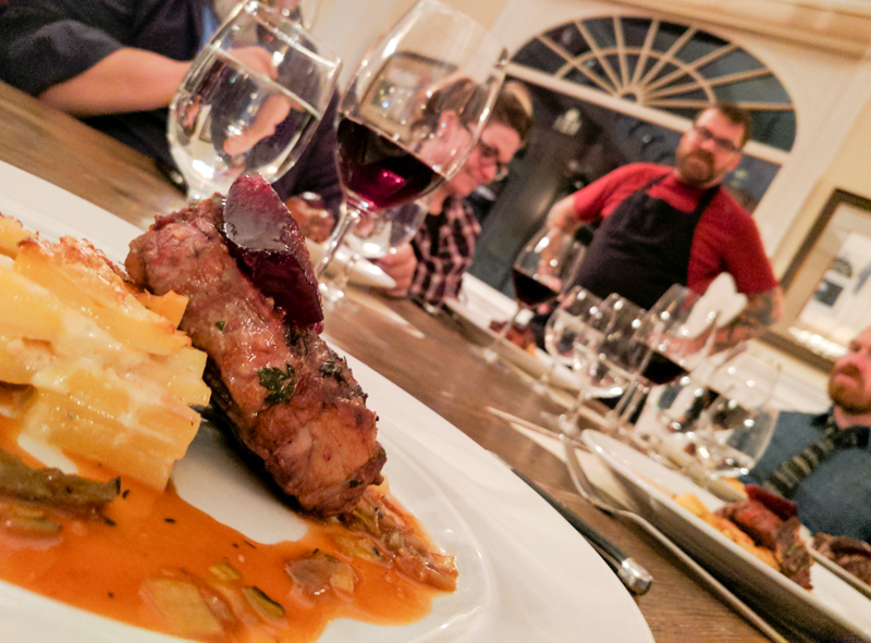 On this evening, Chef Ted Schneider of Moe's BBQ in Fort Collins took over the kitchen, pairing dishes like Crispy Pork Belly and Fruitwood Smoked Duck with small-batch wines from Lost Prairie Winery, also out of Old Town Fort Collins.