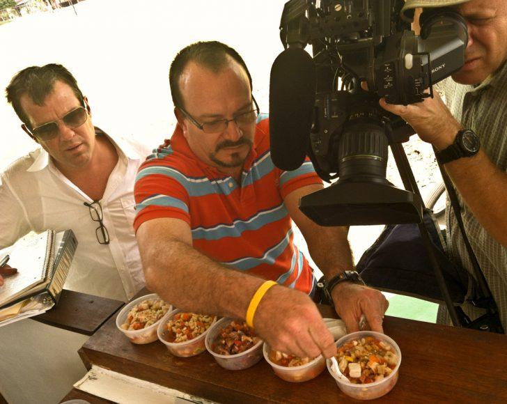 Producer Patrick Weiland sets up my big Ceviche Express hero shot. Shrimp, fish, and mixed.
