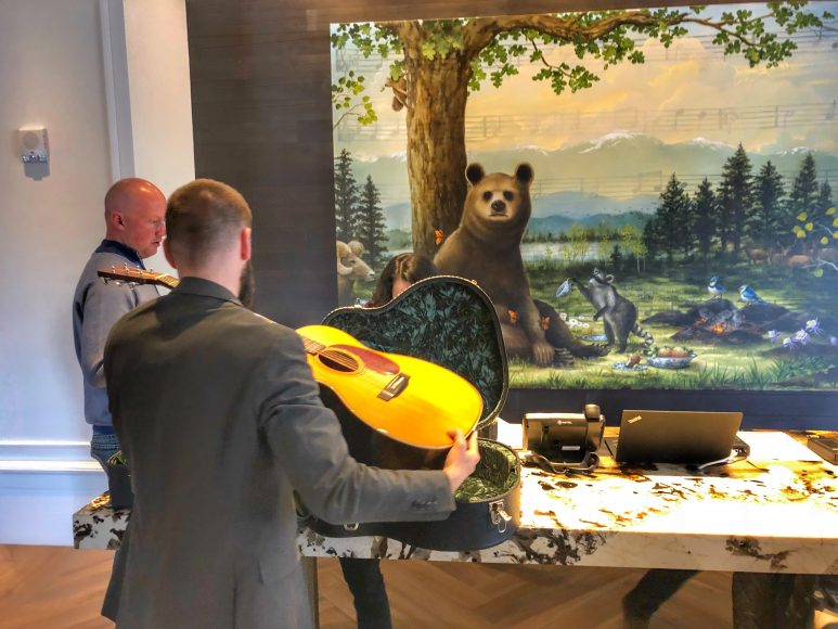 Checking out a Martin at the front desk.