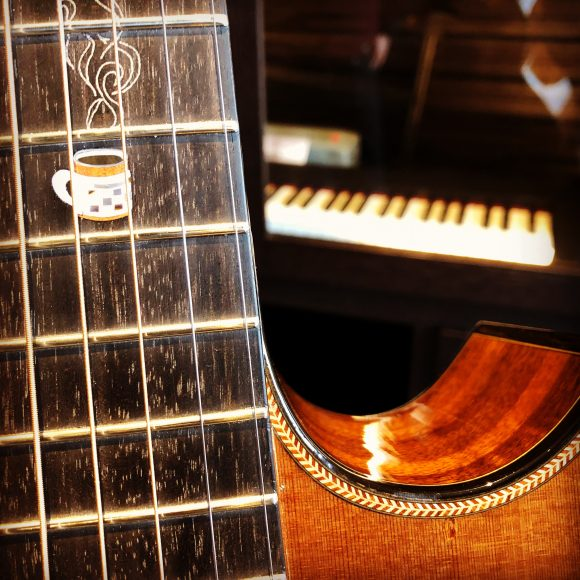 """On the other side of the small room, which was offset from the lobby of the Elizabeth Hotel, the acoustic instruments hung like warm, golden loaves of bread, sober grains of precious wood yelling, """"Pick me! Pick me!"""""""