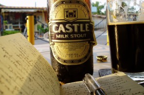 Moleskine and milk stout. Accra, Ghana.