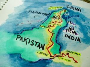 Our route through Pakistan, watercolor & Sharpie