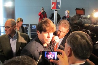 Former Illinois Gov. Rod Blagojevich talks to media the airport in Chicago. ( Special to the Post | Joshua Berman)
