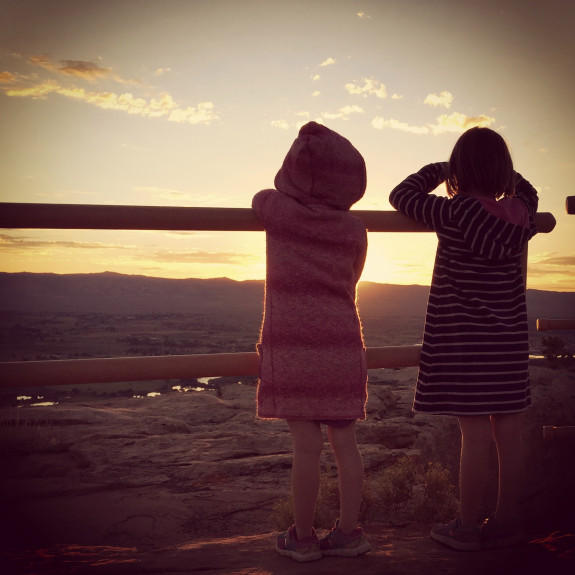 Two sisters' first-ever sunrise hike, at Saddlehorn Campground in Colorado National Monument. (Joshua Berman, Special to The Denver Post)