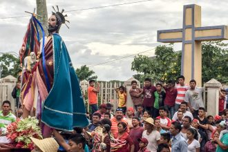 "John the Baptist is paraded through the streets of San Juan de Oriente, a ""white village"" in Nicaragua."