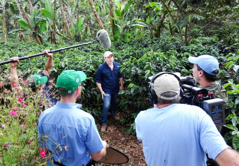 Coffee executive talks about some of the programs to help small farmers. North of Yalí.