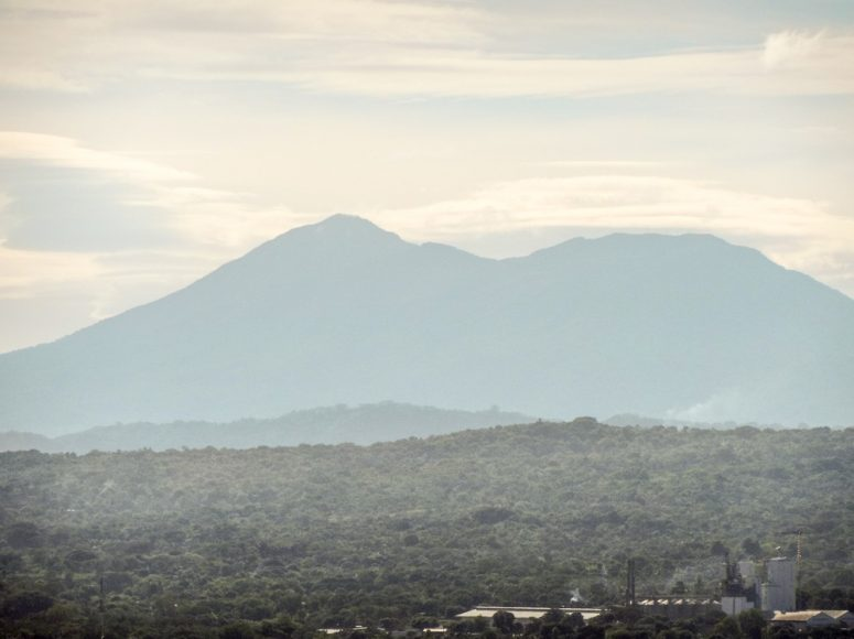 Full zoom of Volcán Mombacho from Coyotepe, Masaya.