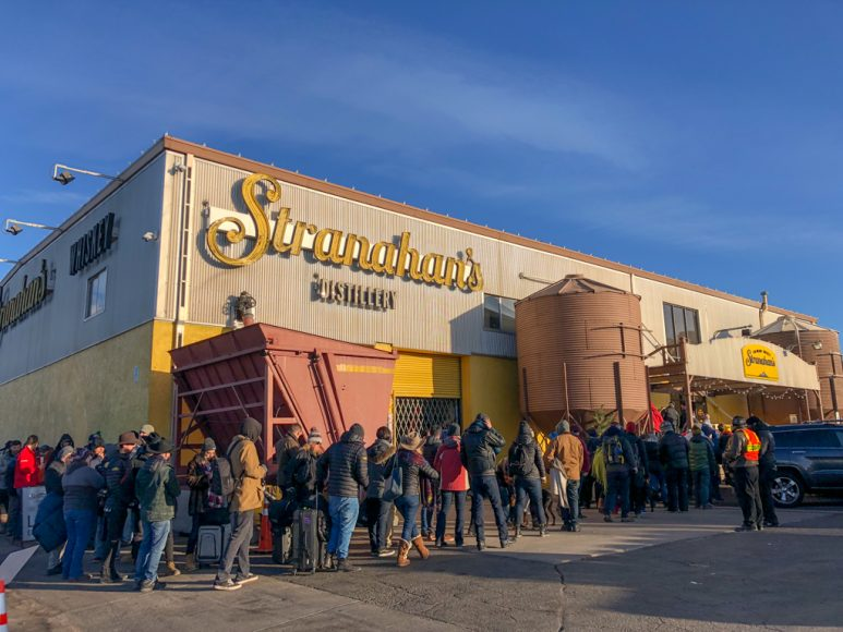 The line, as the doors opened for 2017's Stranahan's Snowflake release.